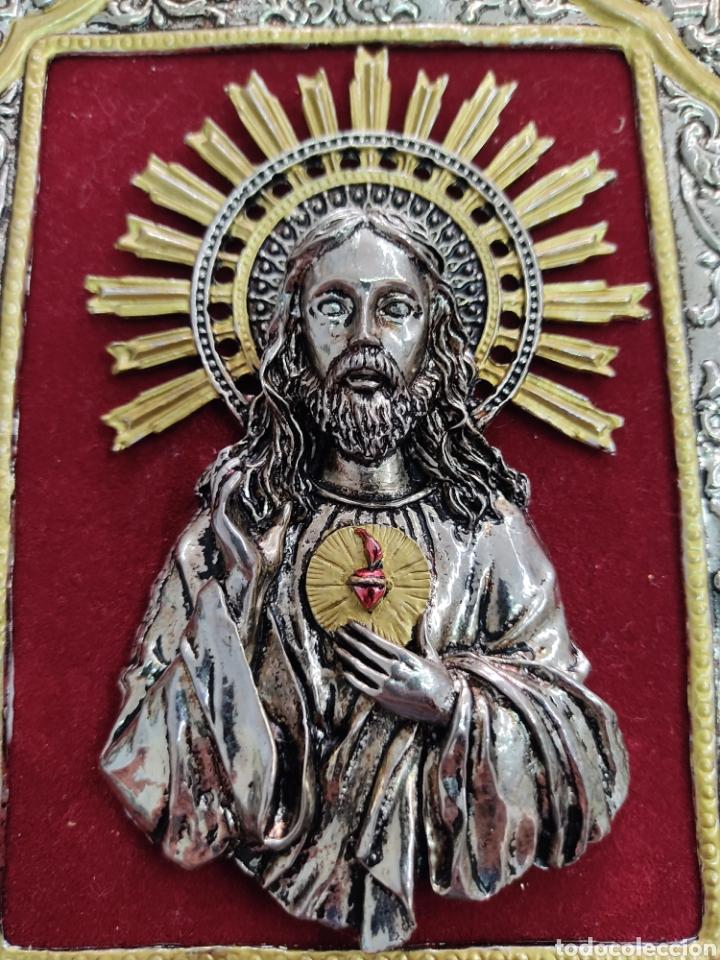 Arte: GRAN RETABLO DE MADERA CON ICONOS BIZANTINOS Y SAGRADO CORAZON DE JESUS Rara pieza de Coleccionismo - Foto 16 - 283785403