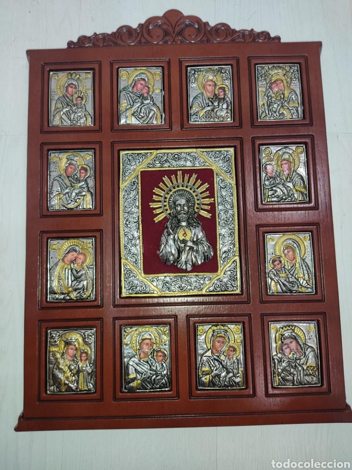 GRAN RETABLO DE MADERA CON ICONOS BIZANTINOS Y SAGRADO CORAZON DE JESUS RARA PIEZA DE COLECCIONISMO (Arte - Arte Religioso - Retablos)