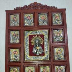 Arte: GRAN RETABLO DE MADERA CON ICONOS BIZANTINOS Y SAGRADO CORAZON DE JESUS RARA PIEZA DE COLECCIONISMO. Lote 283785403