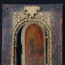 Arte: AGNUS DEI. PUERTA DE SAGRARIO DE MADERA TALLADA Y POLICROMADA. SIGLOS XVI-XVII.. Lote 284038743