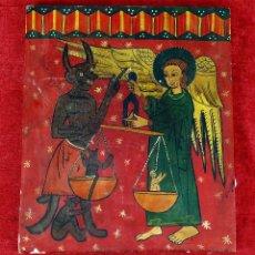 Arte: EL JUICIO FINAL. ÓLEO SOBRE TABLA. REPRODUCCIÓN DE PINTURA ROMÁNICA. ESPAÑA. SIGLO XX. Lote 284236448