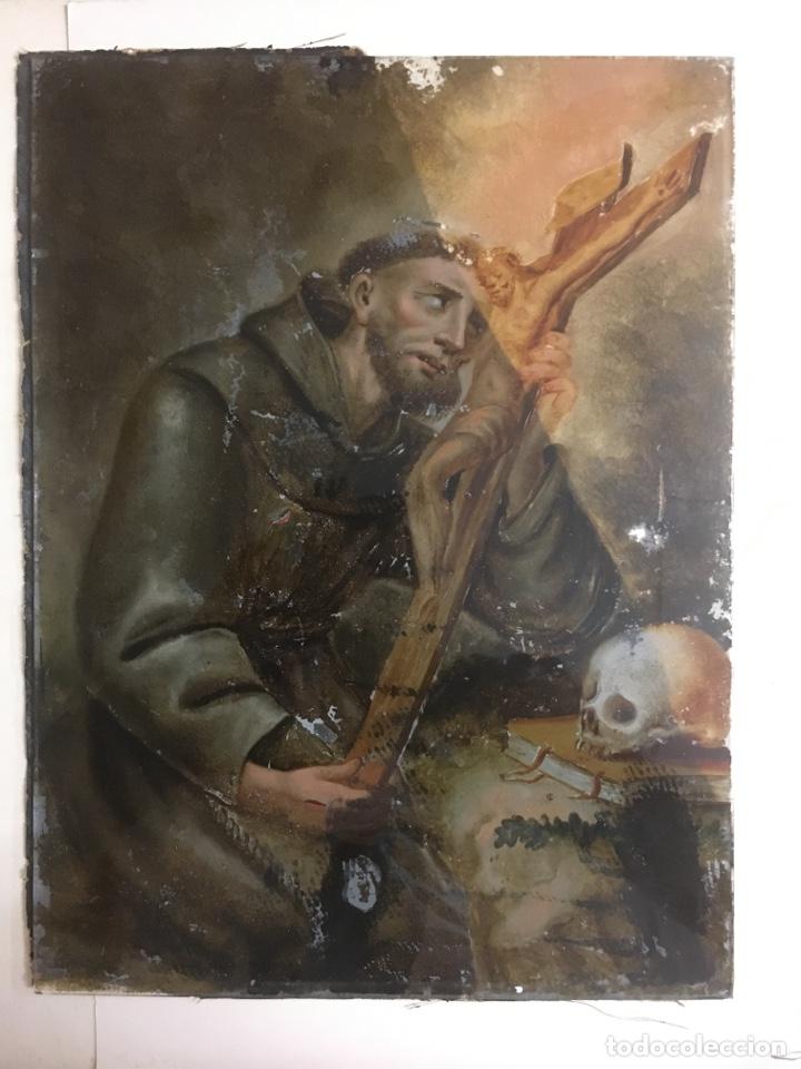 SAN FRANCISCO DE ASIS,PINTADO SOBRE CRISTAL SIGLO XVIII (Arte - Arte Religioso - Pintura Religiosa - Oleo)