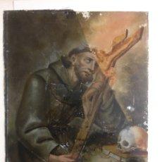 Arte: SAN FRANCISCO DE ASIS,PINTADO SOBRE CRISTAL SIGLO XVIII. Lote 284594328