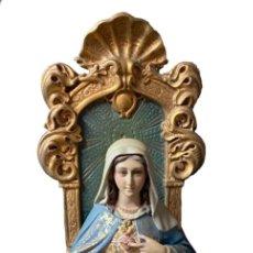 Arte: SAGRADO CORAZÓN INMACULADO DE MARÍA ENTRONIZADO, , OLOT ,1ª ÉPOCA, LAS ARTES CRISTIANAS , 47 CM. Lote 284666003