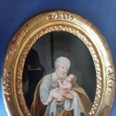 Arte: (ANT-210900)SAN SIMEON CON EL NIÑO JESUS - PINTURA SOBRE CRISTAL - SIGLO XVIII. Lote 285048488