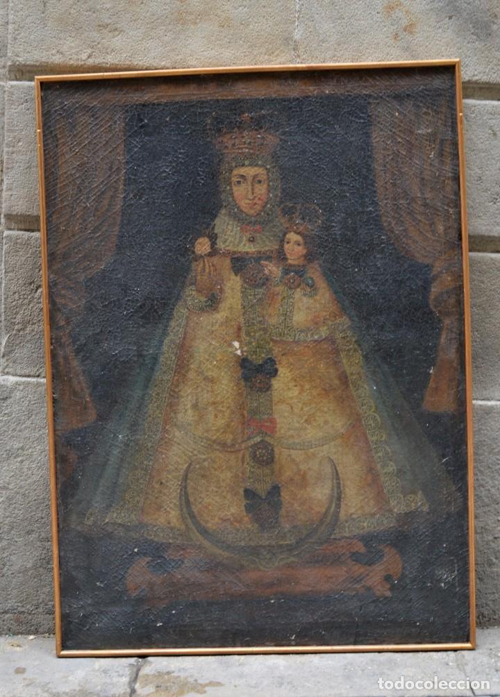 Arte: Virgen con niño, posiblemente escuela colonial, pintura al óleo sobre tela, con marco. 110x79cm - Foto 2 - 285055743