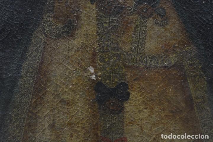 Arte: Virgen con niño, posiblemente escuela colonial, pintura al óleo sobre tela, con marco. 110x79cm - Foto 3 - 285055743