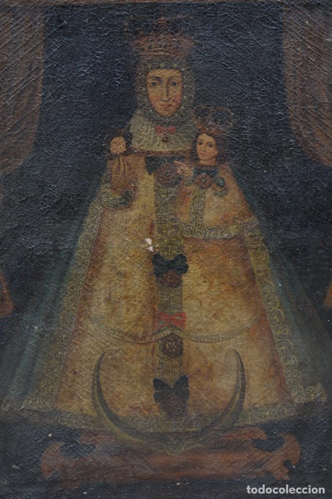VIRGEN CON NIÑO, POSIBLEMENTE ESCUELA COLONIAL, PINTURA AL ÓLEO SOBRE TELA, CON MARCO. 110X79CM (Arte - Arte Religioso - Pintura Religiosa - Oleo)