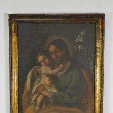 Arte: SAN JOSÉ CON NIÑO - ÓLEO SOBRE TELA - ESCUELA ESPAÑOLA - MARCO DE ÉPOCA DORADO - S. XVIII. Lote 285062718