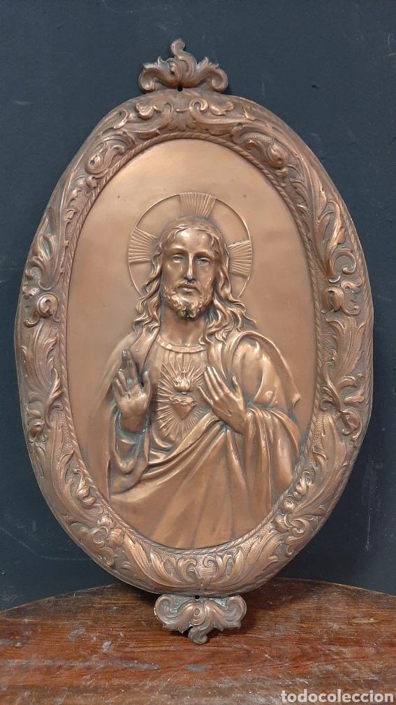 RETABLO SAGRADO CORAZON DE JESUS DE COBRE EN RELIEVE (Arte - Arte Religioso - Retablos)