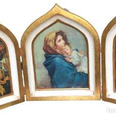 Arte: TRÍPTICO I LA MADONNA DEL RIPOSO I LÁMINA SOBRE BASE DE MADERA I 45X72X4,5CM. Lote 285133308