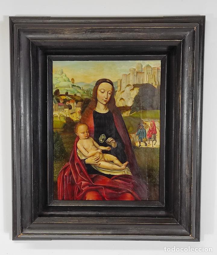 VIRGEN CON NIÑO - ÓLEO SOBRE TABLA - ESCUELA VALENCIANA - SEGUIDOR DE LLUÍS DALMAU - CON CERTIFICADO (Arte - Arte Religioso - Pintura Religiosa - Oleo)