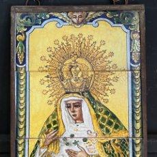 Arte: RETABLO EN EZULEJOS PINTADO A MANO NUESTRA SEÑORA DE LA ESPERANZA ECHO EN TRIANA. Lote 285398153