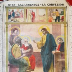 Arte: LÁMINA MURAL Nº 57 SACRAMENTOS : LA CONFESIÓN / 1912 ? 103 X 68 CMS.. Lote 285427198