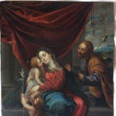 Arte: SAGRADA FAMILIA ,ÓLEO SOBRE COBRE SIGLO XVII-NATIVIDAD-FAMIGLIA SACRA. Lote 285479613
