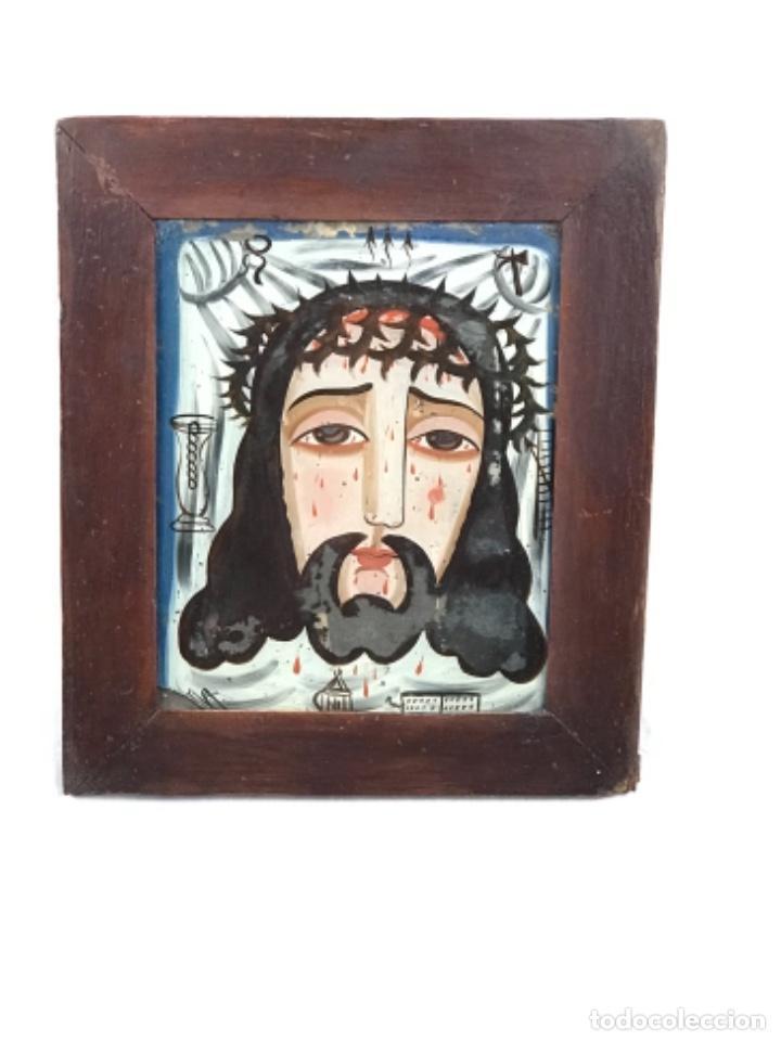 ECCE HOMO~ ROSTRO DE CRISTO ~ CRISTAL PINTADO PRIN SG XIX. (Arte - Arte Religioso - Pintura Religiosa - Oleo)