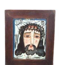 Arte: ECCE HOMO~ ROSTRO DE CRISTO ~ CRISTAL PINTADO PRIN SG XIX.. Lote 285625248