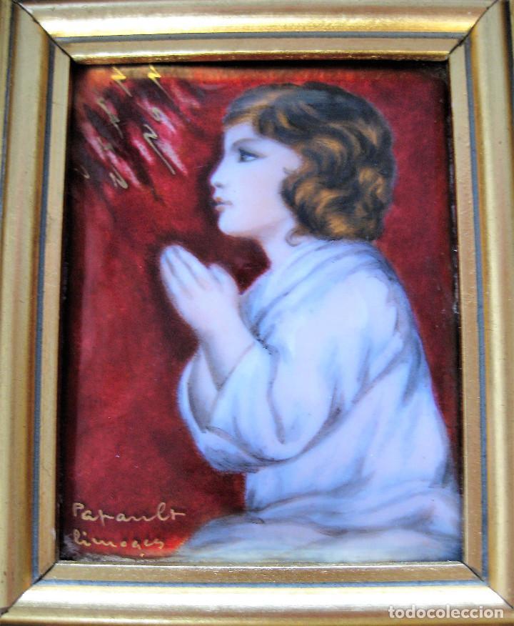 MAGNÍFICO PINTURA SOBRE COBRE DE LIMOGES, ESMALTADA FIRMADA POR GEORGES PAPAULT TODO HECHO A MANO (Arte - Arte Religioso - Pintura Religiosa - Otros)
