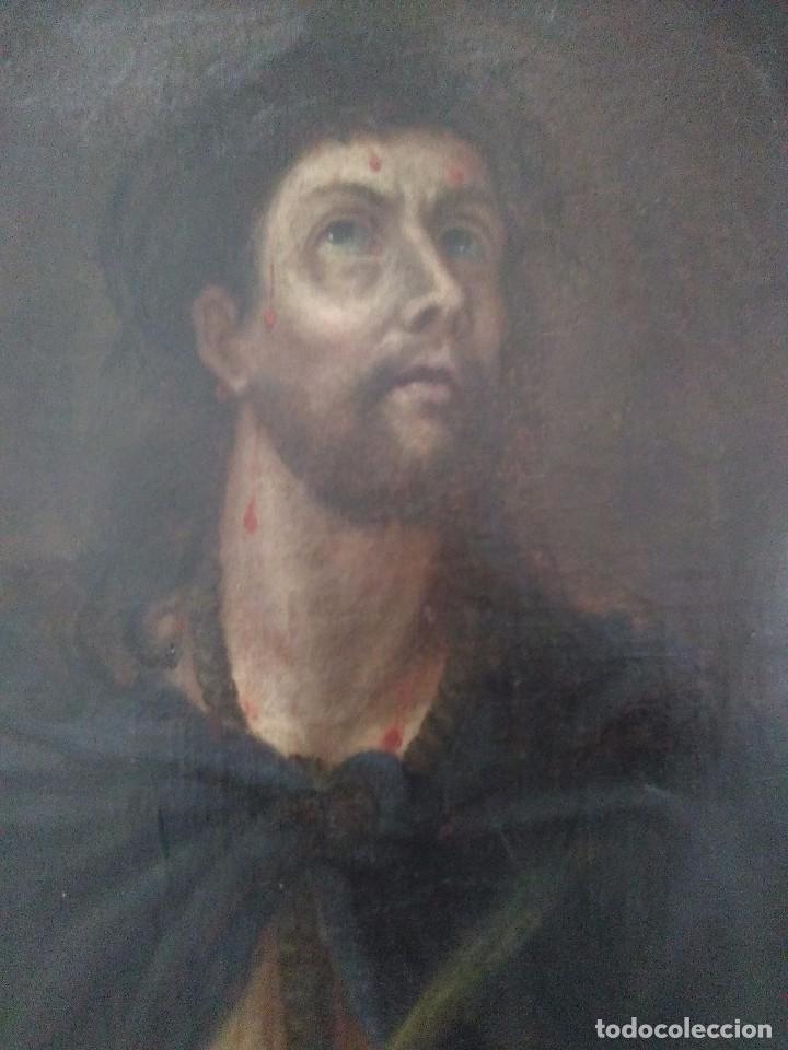 MUY ANTIGUO ECCE HOMO / ÓLEO SOBRE LIENZO / XVIII-XIX (Arte - Arte Religioso - Pintura Religiosa - Oleo)