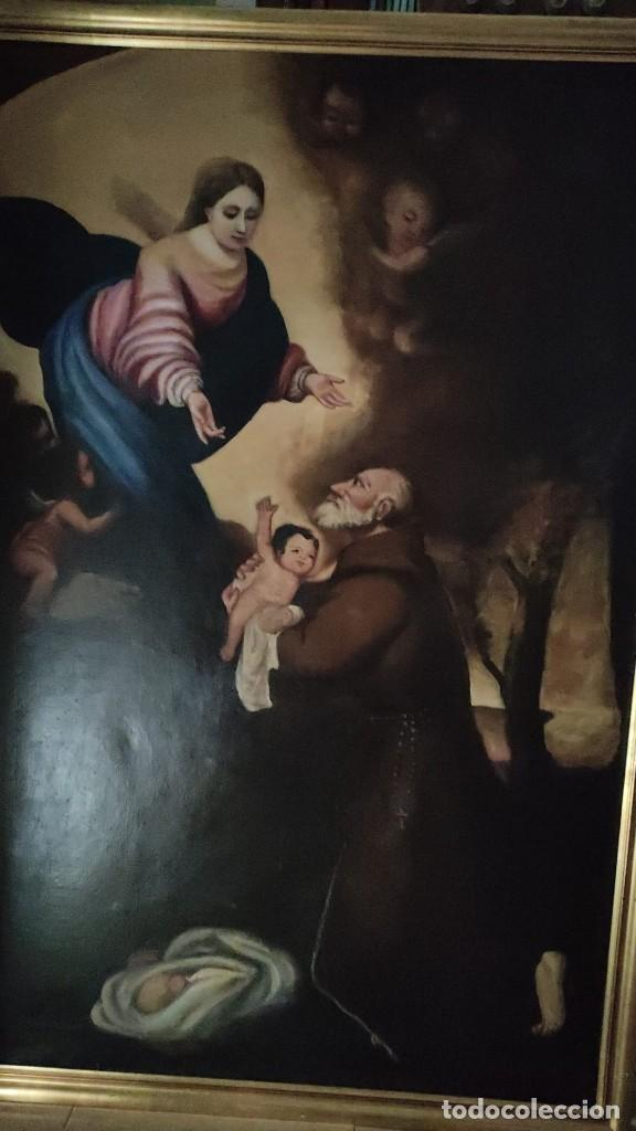 Arte: APARICION DE LA VIRGEN Y EL NIÑO JESUS A SAN FRANCISCO, MEDIADOS SIGLO XIX - Foto 7 - 286422023