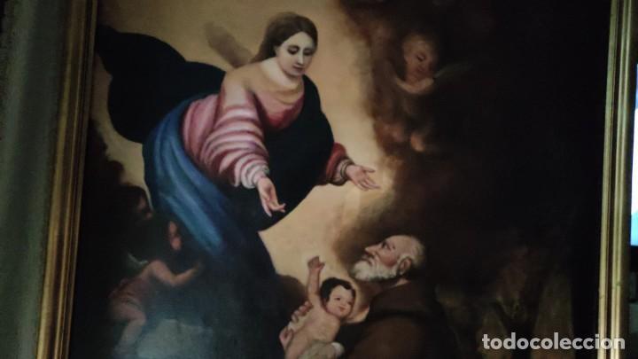 APARICION DE LA VIRGEN Y EL NIÑO JESUS A SAN FRANCISCO, MEDIADOS SIGLO XIX (Arte - Arte Religioso - Pintura Religiosa - Oleo)