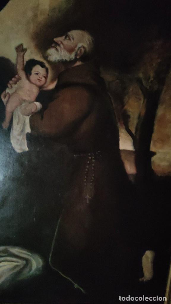 Arte: APARICION DE LA VIRGEN Y EL NIÑO JESUS A SAN FRANCISCO, MEDIADOS SIGLO XIX - Foto 3 - 286422023