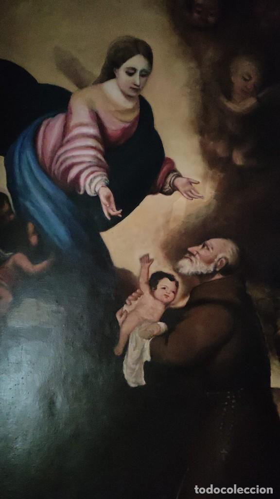 Arte: APARICION DE LA VIRGEN Y EL NIÑO JESUS A SAN FRANCISCO, MEDIADOS SIGLO XIX - Foto 6 - 286422023