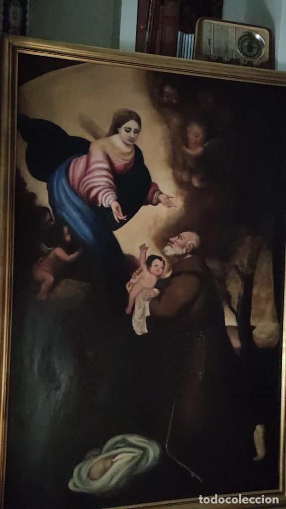 Arte: APARICION DE LA VIRGEN Y EL NIÑO JESUS A SAN FRANCISCO, MEDIADOS SIGLO XIX - Foto 5 - 286422023
