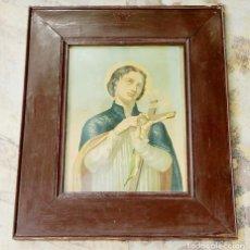 Arte: SANTO CON CRUCIFIJO - MARCO DE MADERA - CRISTAL Y TRASERA DE MADERA - CUADRO RELIGIOSO. Lote 286461183