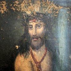 Arte: ANTIGUO ÓLEO SOBRE LIENZO - CRISTO EN LA COLUMNA - PINTURA RELIGIOSA - GRAN TAMAÑO - SIN MARCO. Lote 286505558