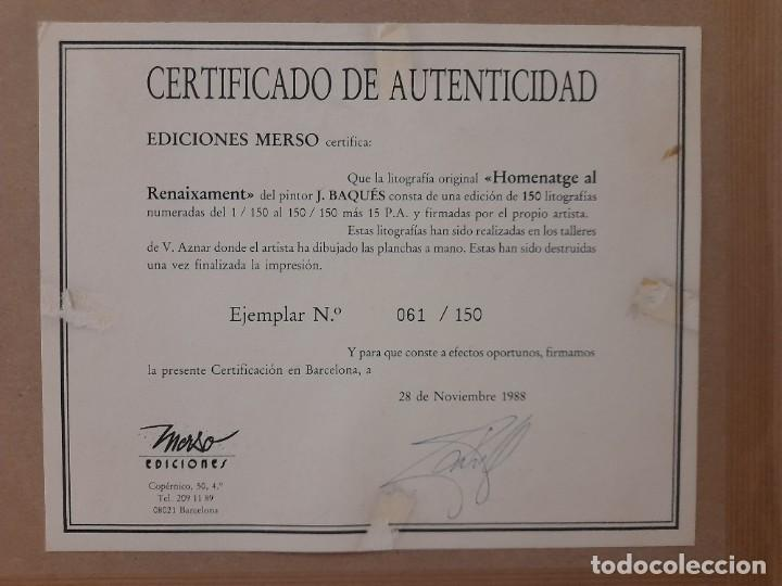 Arte: Litografia Josep Baqués, signada i certificada - Foto 2 - 286507183