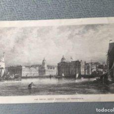 Arte: EL HOSPITAL NAVAL REAL EN GREENWICH DE UN GRABADO DE T. HIGHAM, DIBUJADO POR G. MOORE. Lote 286849153