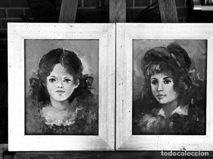 Arte: PAREJA DE RETRATOS DE DOS MUCHACHAS AL ÓLEO SOBRE LIENZO FIRMADOS POR JOAN VIÑASS Y MARCOS PAN ORO - Foto 30 - 286855398