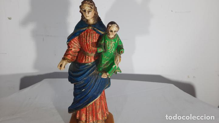 TALLA EN MADERA POLICROMADA VIRGEN ESCUELA COLONIAL SIGLO XIX (Arte - Arte Religioso - Escultura)