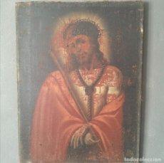 Arte: OLEO SOBRE LIENZO IMAGEN DE CRISTO VARON DE DOLORES ESCUELA COLONIAL S XVIII. Lote 287128533
