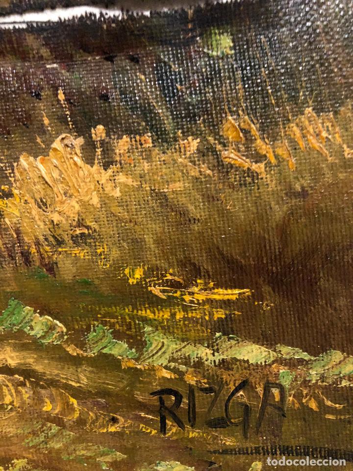 Arte: ANTIGUO GRAN ÓLEO SOBRE LIENZO FIRMADO ¿RIZGA? TEMÁTICA BUCÓLICA NOREUROPEA ¿ESCUELA HOLANDESA XIX? - Foto 19 - 287348798