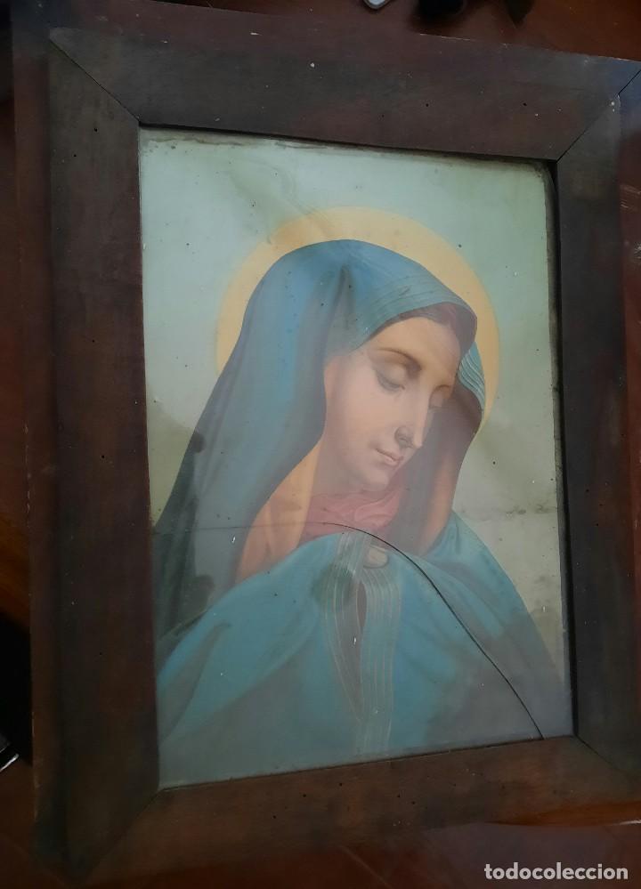 ANTÍGUO CUADRO CON LITOGRAFÍA DE LA VÍRGEN MARÍA (Arte - Arte Religioso - Litografías)