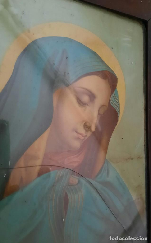 Arte: ANTÍGUO CUADRO CON LITOGRAFÍA DE LA VÍRGEN MARÍA - Foto 2 - 287350948