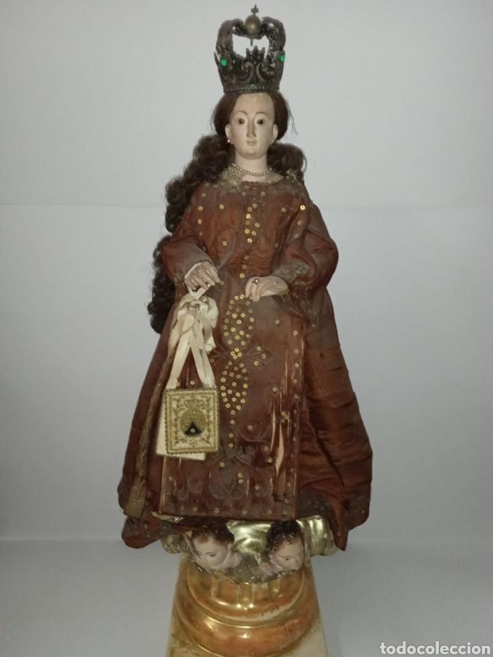 VIRGEN DEL CARMEN S. XVIII XIX DE MADERA - ROPA BORDADA A MANO DE EPOCA - ALTA COLECCION (Arte - Arte Religioso - Escultura)