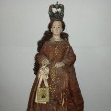 Arte: VIRGEN DEL CARMEN S. XVIII XIX DE MADERA - ROPA BORDADA A MANO DE EPOCA - ALTA COLECCION. Lote 287364833