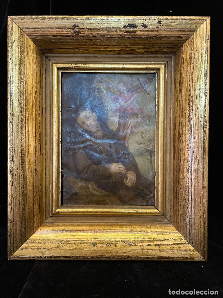 OLEO SOBRE COBRE CON LA IMAGEN DE SAN FRANCISCO DE ASIS ALGUN DEFECTO RESEÑADO EN FOTO (Arte - Arte Religioso - Pintura Religiosa - Oleo)