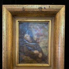 Arte: OLEO SOBRE COBRE CON LA IMAGEN DE SAN FRANCISCO DE ASIS ALGUN DEFECTO RESEÑADO EN FOTO. Lote 287575688