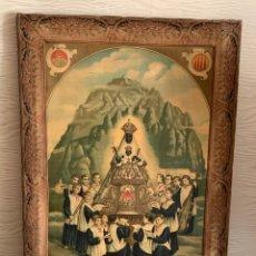 Arte: GRABADO EN TELA. VIRGEN DE MONSERRAT. FIRMADO SIGLO XVIII-XIX. 88X64 CM. Lote 287609588