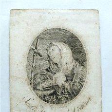 Arte: ANTIGUO GRABADO DE SANTA MARGARITA DE CORTONA. FIRMADO (SIGLO XVIII-XIX). Lote 287611633