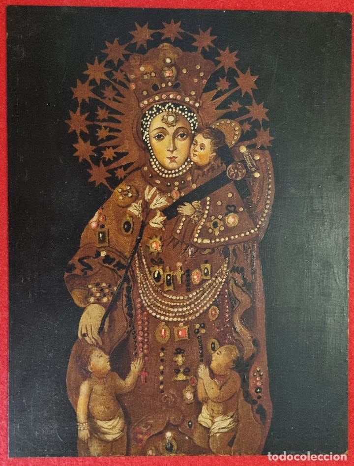 PINTURA RELIGIOSA DE VIRGEN SOBRE PLANCHA DE COBRE SIGLO XX , ORIGINAL (Arte - Arte Religioso - Pintura Religiosa - Otros)