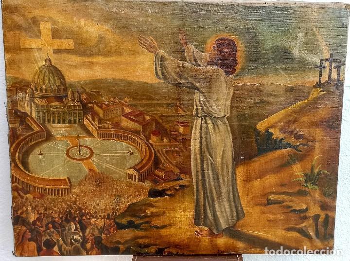 OLEO SIGLO XVIII O XIX. JESUCRISTO PREDICANDO A LA MULTITUD. 67 CM (Arte - Arte Religioso - Pintura Religiosa - Oleo)