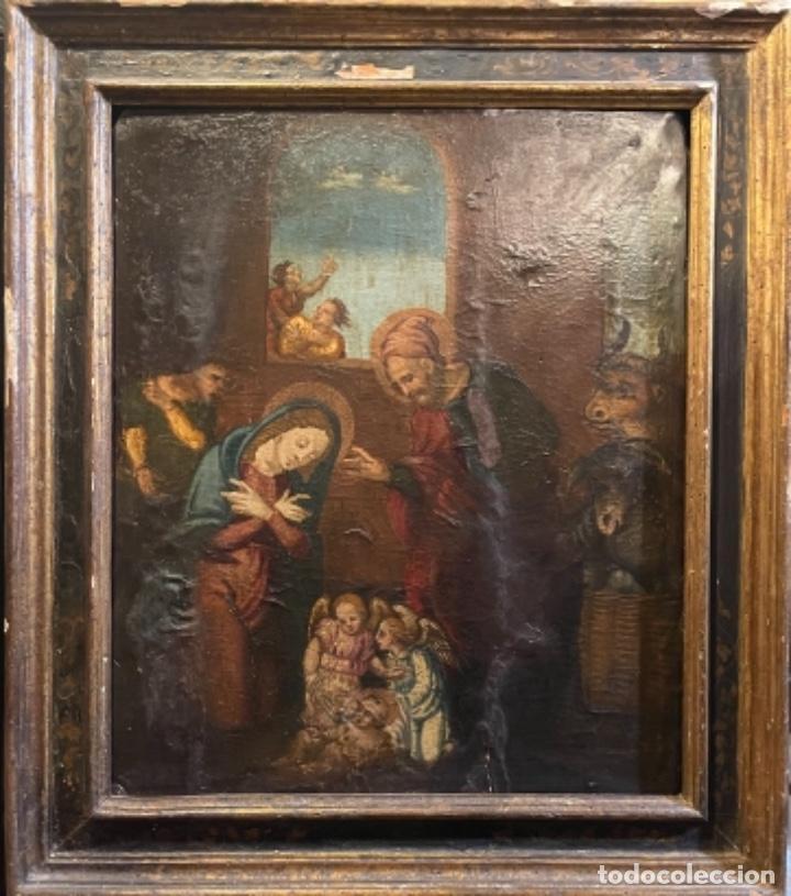 TABLA SIGLO XVIII. NACIMIENTO DE JESÚS (Arte - Arte Religioso - Pintura Religiosa - Oleo)