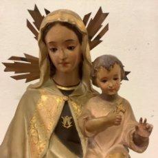 Arte: VIRGEN CON NIÑO MADRE DE DIOS MADONNA - GRAN TAMAÑO 65 CM ALTURA TOTAL. Lote 287818073