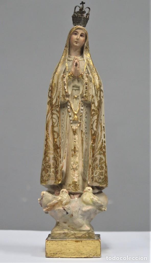 VIRGEN DE FATIMA. OJOS DE CRISTAL. ¿OLOT?. PRIMERA CALIDAD (Arte - Arte Religioso - Escultura)