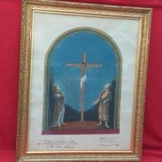 Arte: ACUARELA DE PROYECTO DE RESURRECCIÓN JESÚS CRUCIFICADO J. COMMELERAN 1966. Lote 288006088